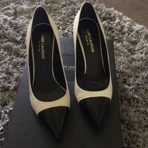 Black/ Cream Saint Laurent pumps